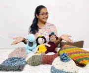 Anjana with Crocheted dolls and Bennies for WOI